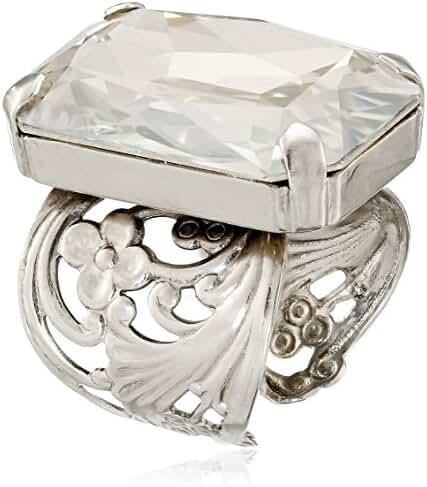 Sorrelli Multi-Crystal Large Cocktail Adjustable Ring