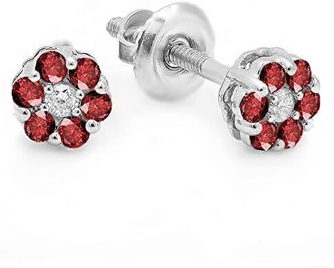 14K White Gold Ladies Cluster Flower Earrings