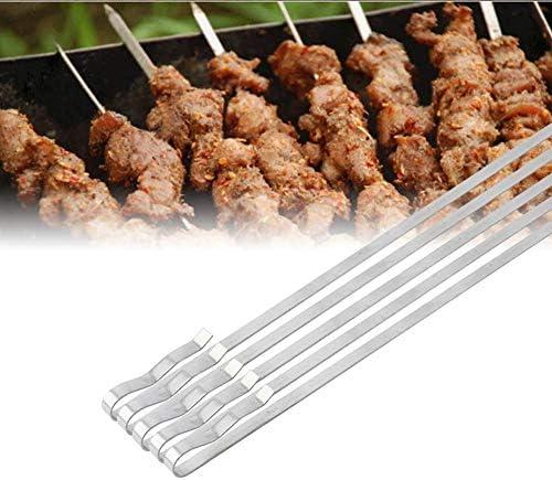 Delaman Fourchette à Griller BBQ Bâtons en Acier Inoxydable Broche de Barbecue Outils de Barbecue de Camping en Plein air avec Sac de Rangement 42cm