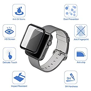 Apple Watch 38mm 3D Screen Protector (Series 1, Series 2, Series 3), Atill Tempered Glass Screen Protector [Anti-scratch] [Bubble-free] for Apple iWatch [1 Pack, Black] from Atill