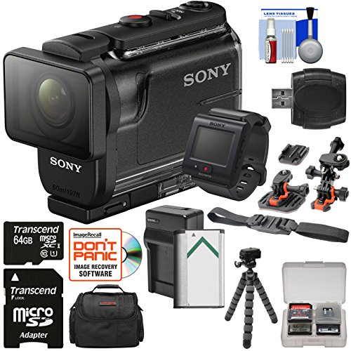 Sony Action Cam HDR-AS50R Wi-Fi HD Video Camera Camcorder & Live View Remote + 64GB Card + Battery/Charger + Case + Tripod + Flat Surface & 2 Helmet Mounts (Sony New Hd Camera)