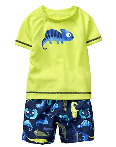 Gymboree Baby Boys 2-Piece Short Sleeve Rashguard Set, Limeade, 6-12 - Piece 10 Baby