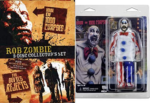 Captain Spaulding Bundle Rob Zombie Devils Rejects Horror Movie DVD & House of 1000 Corpses Collectible Creepy Clown Figure Pack -