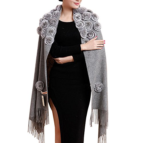 QYQS Women's Exotic Design 100% Pashmina Rabbit Fur Roses Soft Scarf Wrap Party Shawl Grey