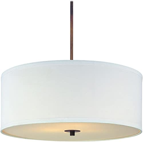 Bronze Drum Pendant Light with White Shade