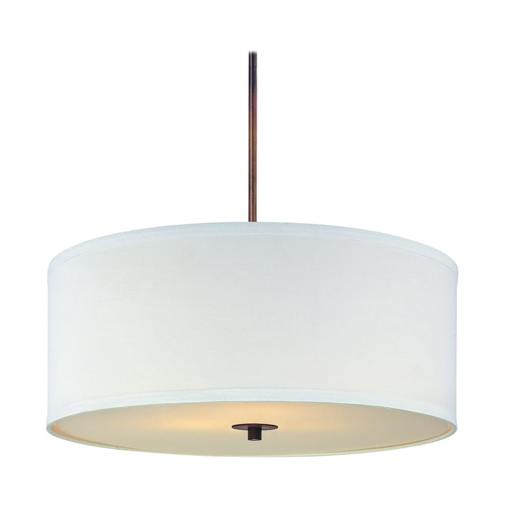 Bronze Drum Pendant Light with White Shade by Design Classics