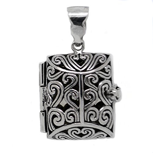 Book Locket (Sterling Silver Aromatherapy Filigree Locket Book Pendant for Essential Oils)