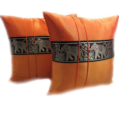 PAPAYA SHOP DOUBLE 2 BEAUTIFUL BIG ELEPHANT THROW CUSHION COVER/PILLOW CASE HANDMADE BY THAI SILK AND COTTON FOR DECORATIVE SOFA, CAR AND LIVING ROOM SIZE 16 X 16 INCHES (ORANGE AND ORANGE) by Papaya Shop