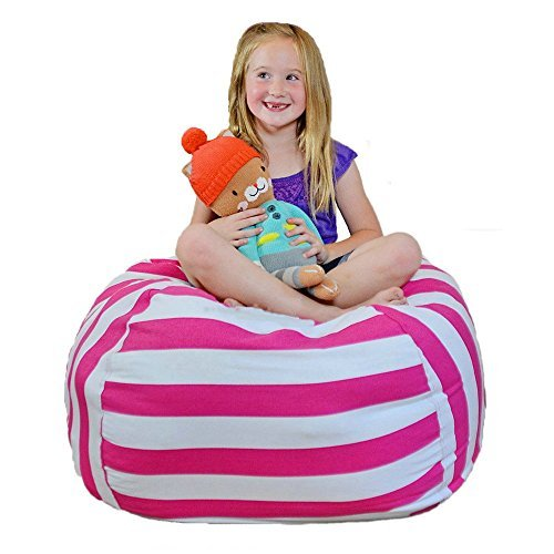 i-Baby Bean Bag Chair Fabric Strength Enhanced Stuffed Animals Storage, Stuff 'n Sit, for Kids Toy Storage Pouf Ottoman, Cotton Canvas Bonded with Durable Nylon (Pink, Diameter (Canvas Ottoman)