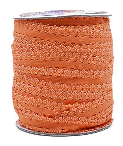 Mandala Crafts Elastic Lace Trim, Stretch Ribbon for Headbands, Lingerie, Garters, Thongs, DIY Crafting and Sewing (1 Inch, 55 Yards, Orange)