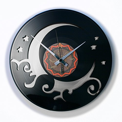 DISCOCLOCK Vinyl Wall Clock The Moon Silver