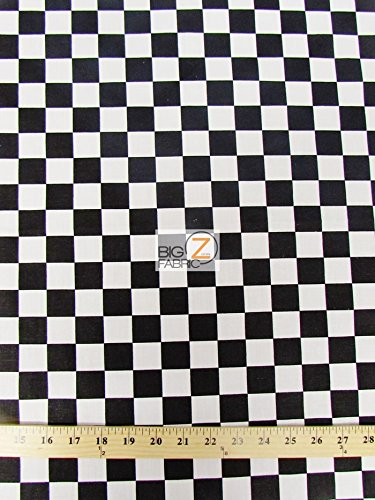 BLACK WHITE SQUARE CHECKERED PRINT POLY COTTON FABRIC 58