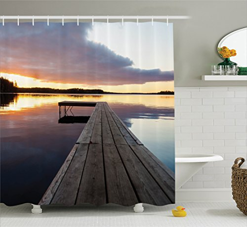 House Decor Shower Curtain by Ambesonne, View of Sunset over an Old Oak Deck Pier and Calm Water of the Lake Horizon Serenity Peace Artwork, Fabric Bathroom Set with Hooks, 69 X 70 Inches, Multicolor