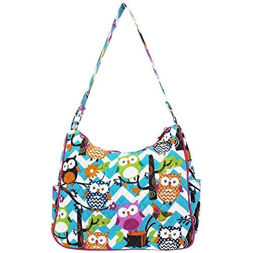 (Ngil Quilted Cotton Hobo Shoulder Bag (Chevron Owl Aqua Hot Pink))