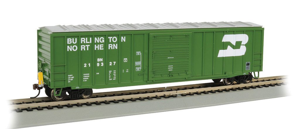 Bachmann 50' Ouitside Braced Box Car with Flashing End of Train Device-Burlington Northern Hobby Freight, Prototypical Green
