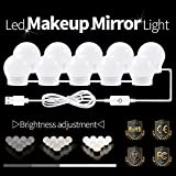 LaMuVii Hollywood Style LED Vanity Mirror Lights Kit 10 LED Dimmable Light Bulbs with Hidden Rotating Fixture Strip,USB Adapter for Makeup Vanity Table Set in Dressing Room (Mirror Not Include)