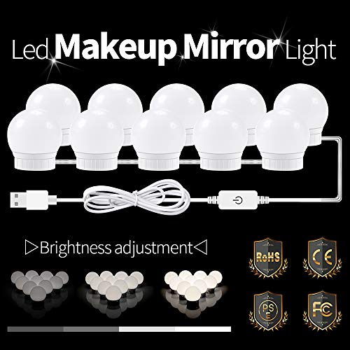 LaMuVii Hollywood Style LED Vanity Mirror Lights Kit 10 LED Dimmable Light Bulbs with Hidden Rotating Fixture Strip,USB Adapter for Makeup Vanity Table Set in Dressing Room (Mirror Not Include) (Rotating Light Kit)