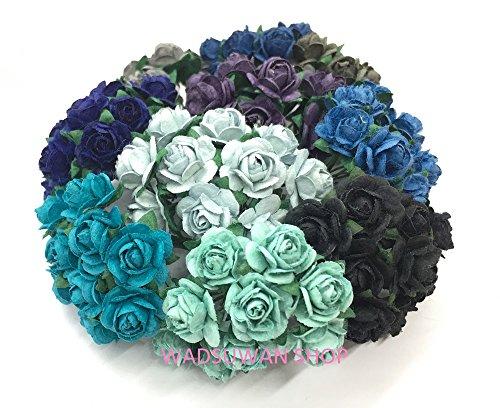 100 Mixed Color 10mm Artificial Mulberry Paper Rose Flower Wedding Scrapbook DIY Craft Scrapbook Scrapbooking Bouquet Craft Stem Handmade Rose Valentines Anniversary Embellishment By WADSUWAN (Decorative Mulberry Paper Flowers)