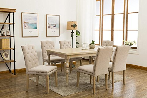 Country Styled 7-piece Dining Table with Carved Legs and Six Buttoned(Tufted) Studded Beige Chairs