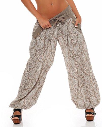 malito Harem Pantalón con Orient Print Boyfriend Aladin Bombacho Sudadera Baggy Yoga 3488 Mujer Talla Única Fango