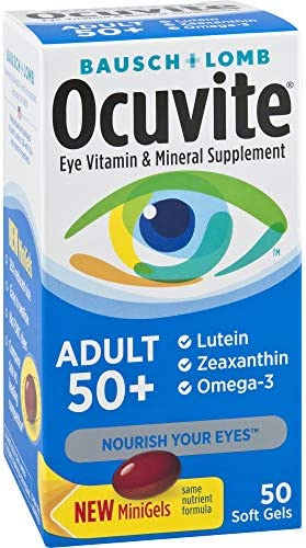 Ocuvite Eye Vitamin & Mineral Supplement, Contains Zinc, Vitamins C, E, Omega 3, Lutein, & Zeaxanthin, Bausch & Lomb Ocuvite Adult 50+ Eye Vitamin & Mineral Softgels, 50 Count