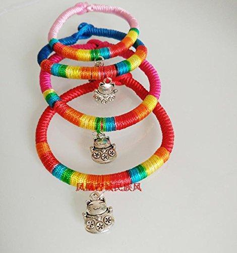 (The new national air original hand-woven diamond knot bracelet handmade Miao silver Ly cat pendant unisex)