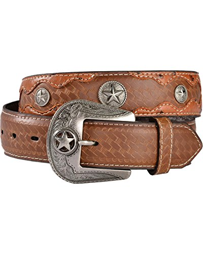 Embossed Print Belt (Gibson Trading Co Men's Co. Embossed Ostrich Print Concho Leather Belt Tan 38)