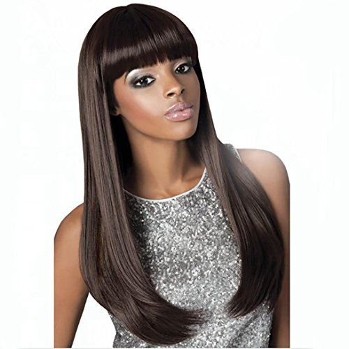 Search : DIFEI Long Black Straight Wig with Bangs Black Women Wigs for African American Heat Resistant Synthetic Wigs (1B#)