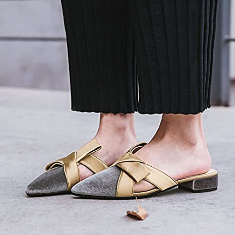 Qingchunhuangtang@ Pantofole Sul Fondo Delle Pantofole,Trentasette,Grigio