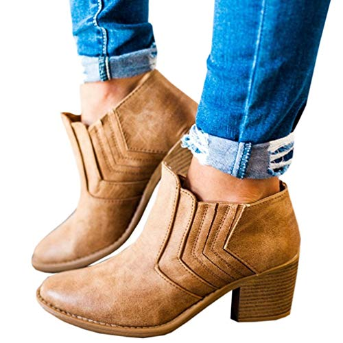 (T-JULY Autumn Ankle Boots for Women Squred Heel Boots Slip On Ladies Short Boots Sewing Footswear Plus Size)
