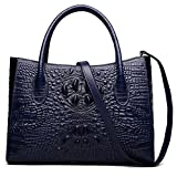 ZOOLER Genuine Leather Handbag Purses for Women Crocodile Embrossed