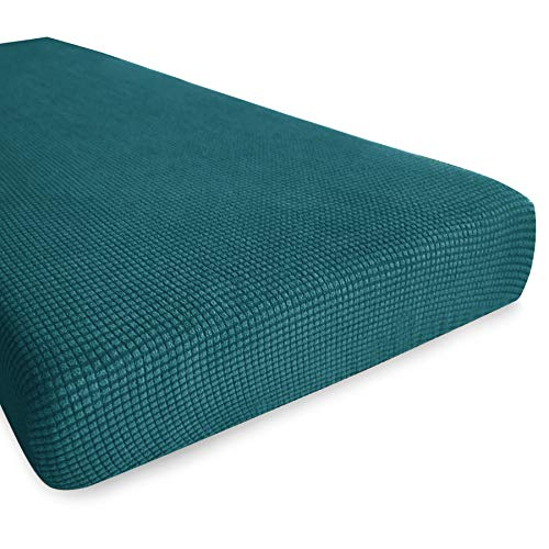 Hokway Stretch Couch Cushion Slipcovers Reversible Cushion Protector Slipcovers Sofa Cushion Protector Covers (Teal, Loveseat Cushion) (Outdoor Cushion Bench Covers)
