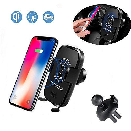 HZISC Qi Wireless Car Charger,Automatic Sensor Technology,Car Air Vent Phone Holder, Car Mount, 10W Fast Charging with GPS Tracker,for iPhone X 8/8 Plus & Qi Enabled Devicesevices,Built-in GPS locator by HZISC