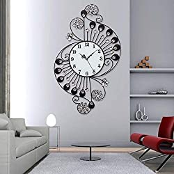 MGE UPS Systems Clock Wall Clock,Crystal Diamond Iron Wall Clock, European Style European Clock, Living Room, Modern Personality, Creative, Wall Stickers, Clocks