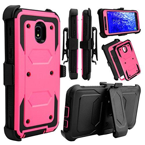 Galaxy J7 Star Case, Galaxy J7 Top J737T, Galaxy J7 Crown, Galaxy J7 Refine Case, Venoro Full Body Protection Case Cover with Swivel Belt Clip and Kickstand for Samsung Galaxy J7 Aura (Pink)