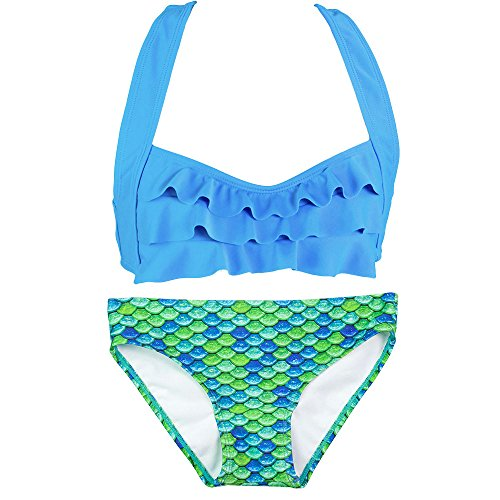 Fin Fun Mermaid Girls Sea Wave Bikini Set, Blue Top, Aussie Green Bottom, (Aussie Bikini)