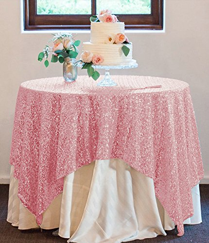 50''x50'' Square Fushia Pink Sequin Tablecloth Select Your Color & Size Can Be Available ! Sequin Overlays, Runners, Gatsby Wedding, Glam Wedding Decor, Vintage - Tablecloth Round Polyester 108'