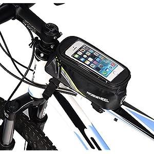 "ArcEnCiel Water Resistant Front Top Tube Pannier Bike Frame Storage Bag Mobile Phone Holder ≤ 5.7"" Screen (Green Line)"
