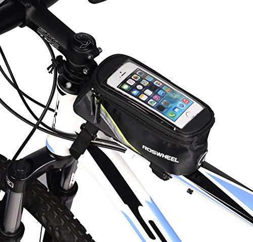"ArcEnCiel Water Resistant Front Top Tube Pannier Bike Frame Storage Bag Mobile Phone Holder ≤ 5.7"" Screen (Green Line)"