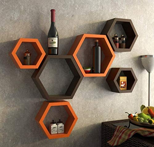 Hexagon Wall Shelves for Home Decor   Wooden Wall Shelves   Orange and Brown  [Set of 6]