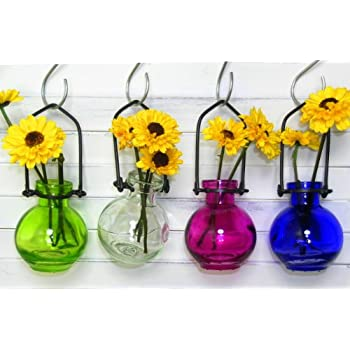 Amazon Colored Glass Hanging Flower Wall Vases G77 Lot Of 4