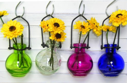 - Colored Glass Hanging Flower Wall Vases G77 Lot of 4 ~ Colored Glass Bottle ~ Floral Vase ~ Colored Vase