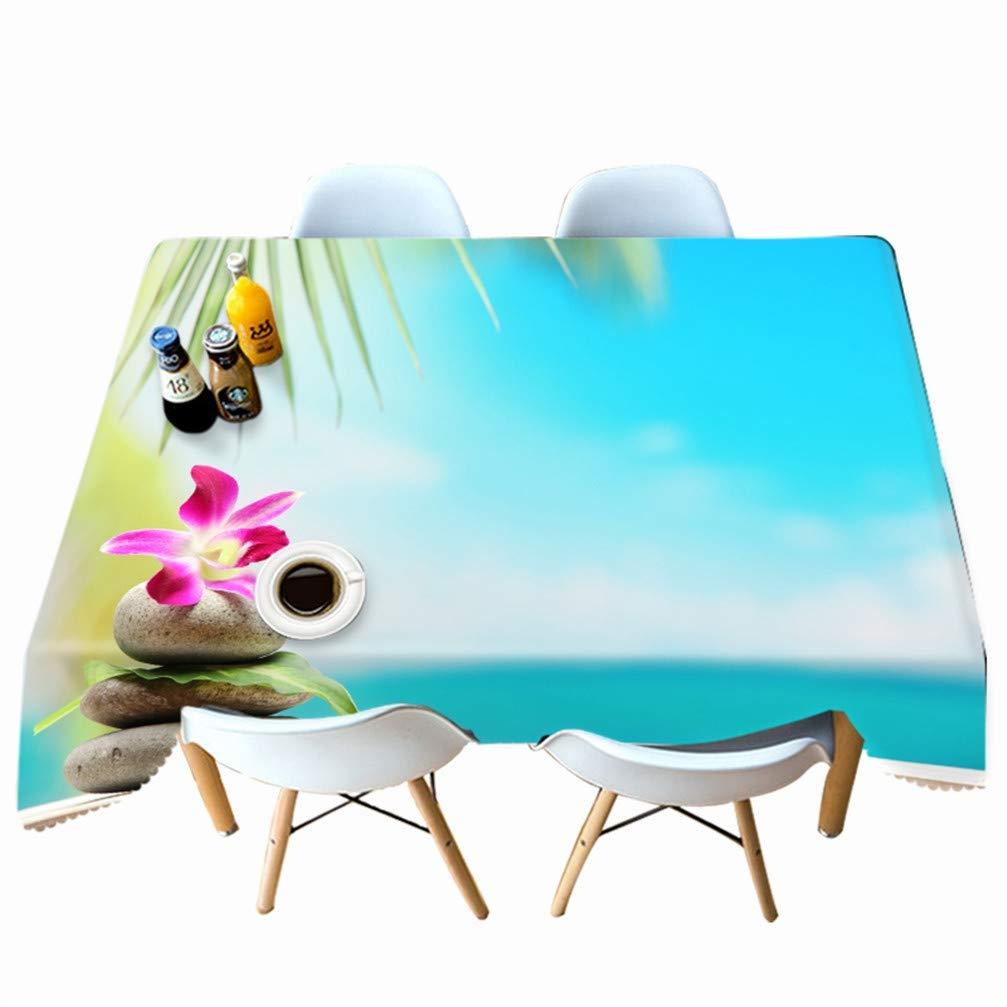 H 228x335cm IMON LL Tovaglie Lavabili Rettangolari Tovaglie, Tovaglia HD a Tema da Spiaggia Tovaglia in Poliestere Impermeabile per Feste,E,228x396cm