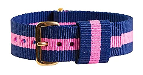 18mm Nato Rose Gold Nylon Loop Striped Navy Blue / Pink Interchangeable Replacement Watch Strap (Pink Tag Watch)