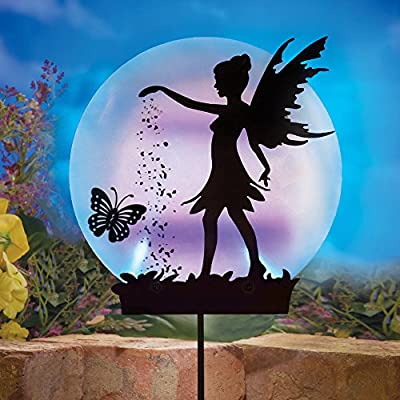 Collections Etc Solar Fairy Silhouette Garden Decor Yard Stake with Light-Up Moon - Outdoor Use with Acrylic, Metal & Plastic Materials, Black : Garden & Outdoor