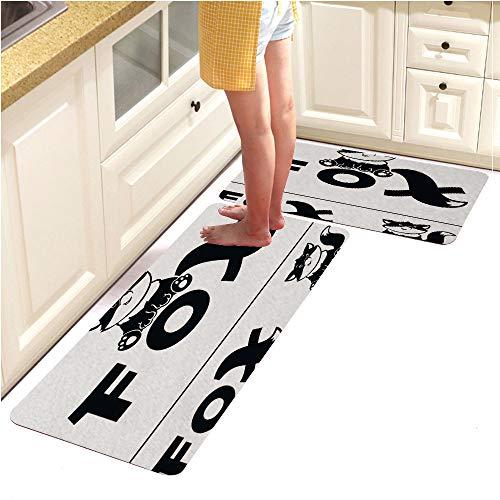Kitchen Mat,Decorative Non-Slip Microfiber Doormat Bathroom Mats Rugs,Fox Logo bw (15