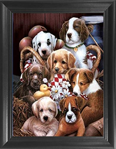 Puppies 3D Poster Wall Art Framed - 14.5x18.5 - Unbelievable Life Like 3D Lenticular Posters, 3D Print, Cool Unique Cute Modern Home Room Décor Pictures – Man's Best - Pictures Of Puppies Cute
