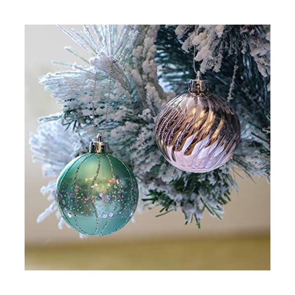 Valery Madelyn Palle di Natale 30 Pezzi 6cm Palline di Natale, Elegante Palazzo Verde Menta e Oro Rosa Infrangibile Ornamenti Palla di Natale Decorazione per Albero di Natale Decor 4 spesavip