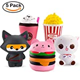 WATINC 5 Pcs Cute Animal&Food squishy Sweet Scented Vent Charms Slow Rising squishies Kawaii Kid Toy, Lovely Stress Relief Toy, Animals Gift Fun Large(WT-5P Ninja fox set)