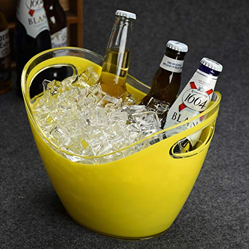Acrylic Ice Bucket Oval,Large Capacity Ice Tub Insulated,Champagne Bucket Wine Bucket Parties Ice Bucket Party Beverage Chiller Bin-Yellow-a 3l/1gallon